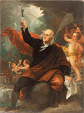 Benjamin Franklin - Inventor of the Lightning Rod. Painting by: Benjamin West