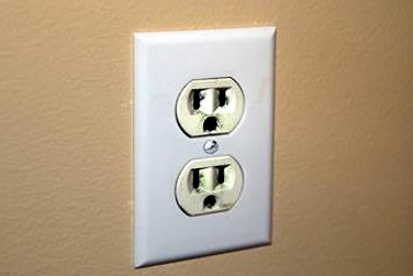 Damaged electrical outlet.