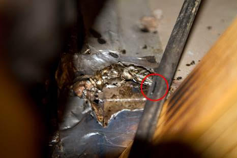 Damage to the coax, caused small fire